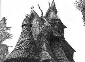 Kirkens enhet forvitrer og har utestengt den opprinnelige og bibelfunderte lære med å innføre ny lære i Den norske kirke. Tegning av norsk stavkirke. Tegnet av GameBro hos DeviantArt.